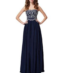 Beauty Bridal Women's Long Prom Dress Strapless Chiffon Evening Gown (20W,Dark Navy)