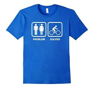 Men's Bike Problem Solved Funny Mountain Biking Shirts Medium Royal Blue