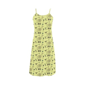 Abbie Miller Bohemian Stlye Custom Women's Polyester Casual Slip Dress Yellow B