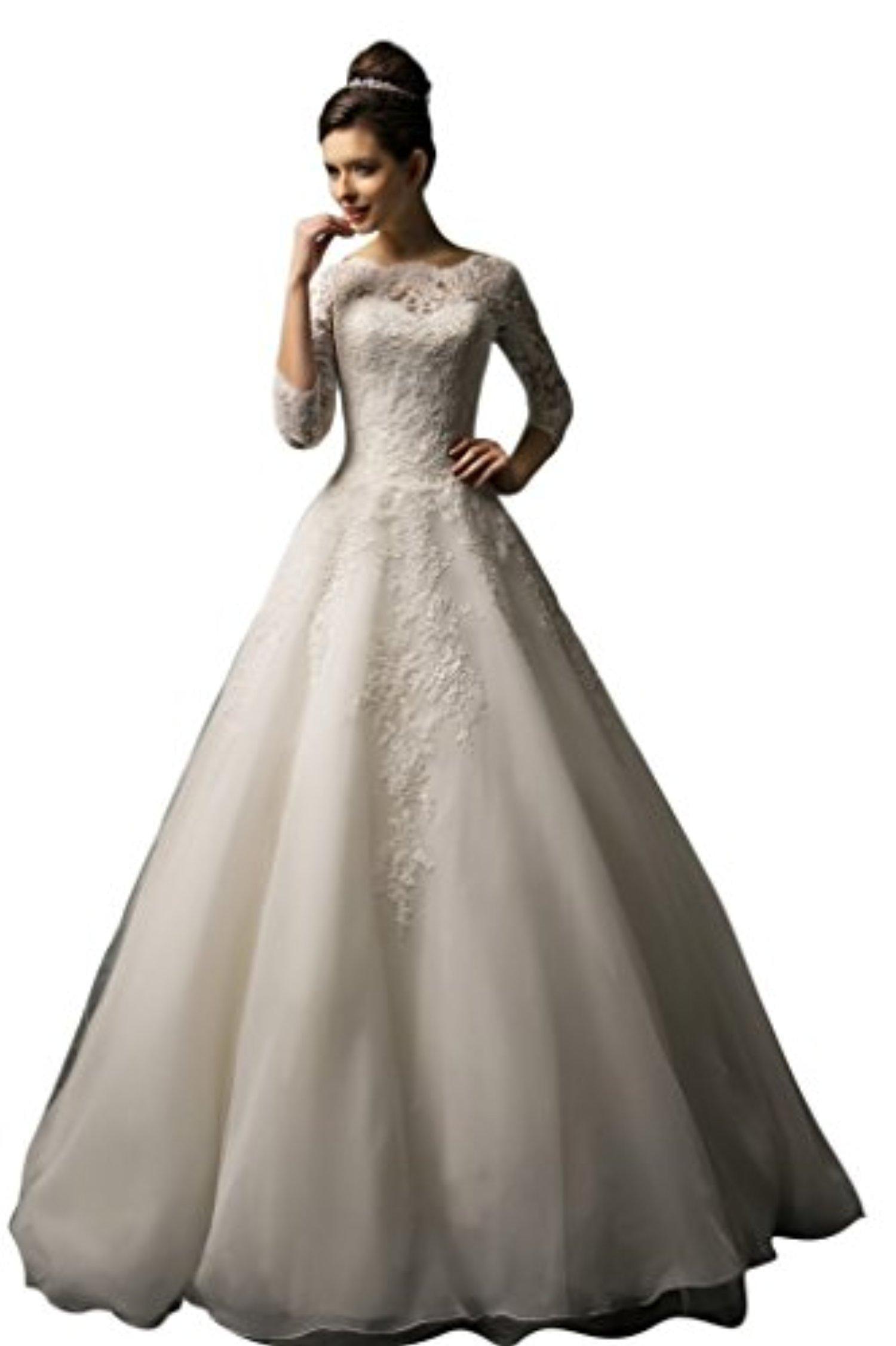 JoyVany Long Sleeve Wedding Dresses 2016 Organza Lace A-Line Bridal Wedding Gown Ivory Size 22W