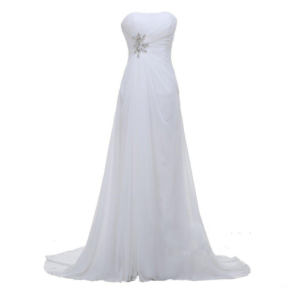 Angel Formal Dresses Women's Strapless Rhinestone Court Train Chiffon Bridal Gown Wedding Dresses(18,White)