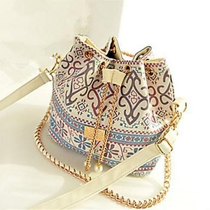 Women PU Casual Shoulder Bag Blue / Black