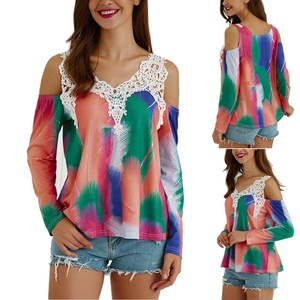 Women Off Shoulder Tee, Misaky Loose Long Sleeve Lace Splice Shirt Blouse Top (L, Multicolor)