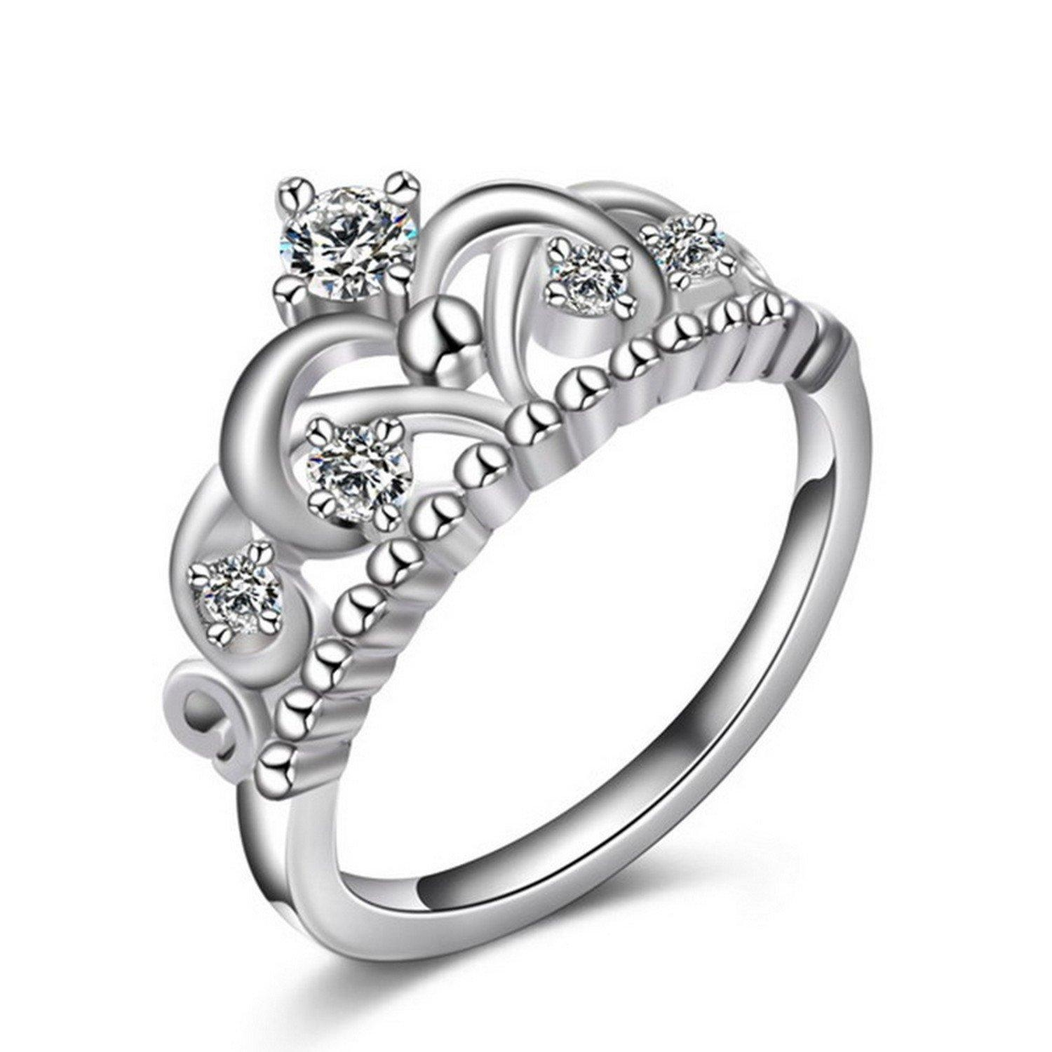 Slyq Jewelry Elegant Crystal Crown Ring White Gold Plated Cz Zircon Ring For Wedding Women