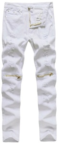 Digerla Men's Ripped Broken Hole Destroyed Straight Fit Zipper Jeans White