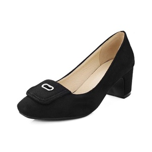 VASHOP Women's Squared Toe Mid Chunky Heels Medallion Suede Pumps Mary Jane Shoes,Black/9.5