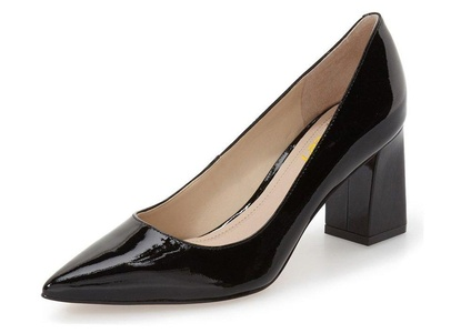 FSJ Comfortable Formal Pumps Patent Leather Pointed Toe Thoes Chunky Heels for Women Size 11