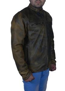 Mens Distressed Look Vantage Brown Motorcycle Genuine Leather Jacket (M)