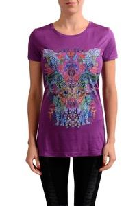 Versace Jeans Purple Graphic Women's Short Sleeve Blouse Top US L IT 44;
