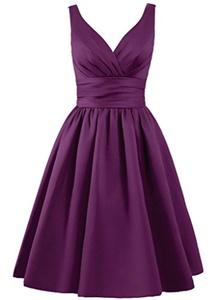 Angel Formal Dresses Women's V Neck Pleated Satin Short Prom Dress Formal Dress(16,Grape)