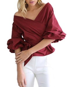 Imixcity Women V-neck Off Shoulder Shirt Bow Waist-tie Blouses Tops Wine red S