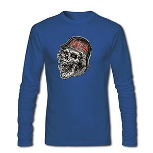 Slayer Black Eagle Sukll for Men Printed Long Sleeve Cotton T-shirt