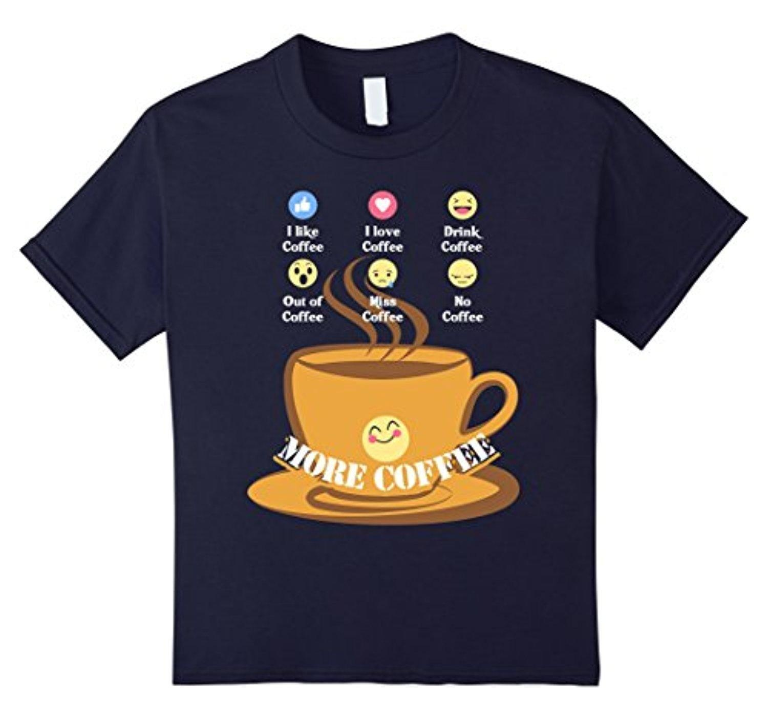 Online Store Kids Funny Coffee Lover Birthday Gift T Shirts Emoji Love 4 Navy