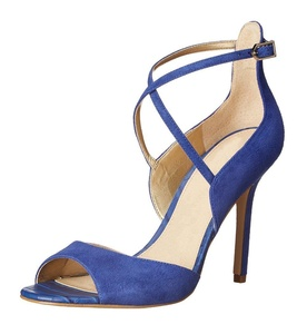 Juoar Women's Stiletto Big Size Sandals Ladies Shoes Solid Peep Toe Pumps for Dress Suede Blue US11