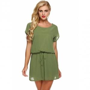 Batwing Short Sleeve Drawstring Solid Loose Short Chiffon Dress small army green