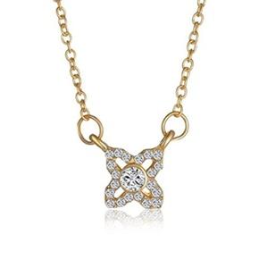 Gudeke Fashion Simple Womens Diamonds Flower Necklace Pendants 48cm Chain