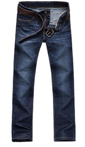 TiYa Mens Washed Denim Straight Leg Jean