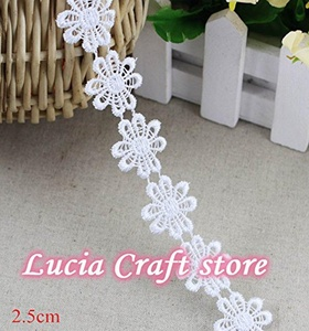 2y/lot 2.5cm multi option handmade patchwork material lace ribbon diy garment sewing lace trim headwear accessories (White)