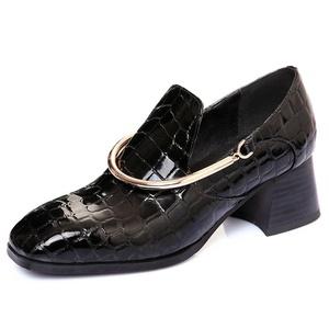 Nine Seven Patent Leather Women's Square Toe Chunky Heel Metal Decoration Handmade Pump New (7.5, black)