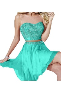 Avril Dress Glamorous Sleeveless Cocktal Homecoming Two Piece Backless Party Dress-14-Blue