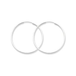 .925 Sterling Silver 35 MM Classic Endless Hoop Earrings