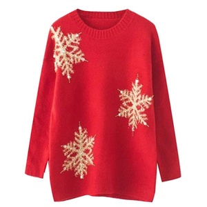 Annisking Womens Christmas Sweater Snowflake Pearl Liangsi Jumper Pullover -9C04
