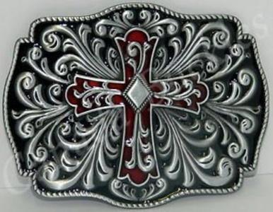 Celtic Irish Knot Red Enamel Cross Black Enamel New Belt Buckle by Buckle