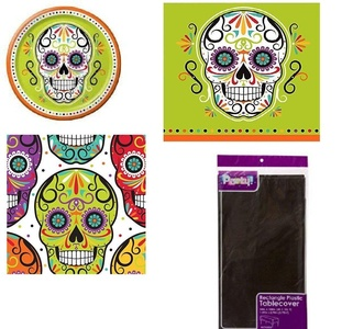 Skelebration Sugar Skull Lunch Napkins Dinner napkins Desert Plates & Dinner Plates and Table Cloth Party Kit for 8