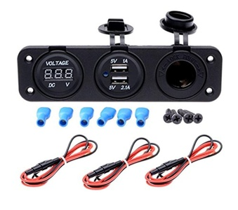 FICBOX DC 12V Dual USB 2 Port Charger + DC Digital Voltmeter + Power Socket Outlet Three Hole Panel For Boat Car