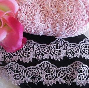 1 1/2 inch Wide Pink Floral Vintage Embroidery tTulle Lace Crafts Sewing Embroidery DIY Craft Trims Bridal Wedding Applique 1Yard