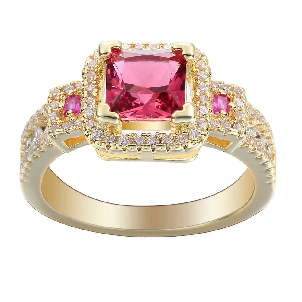 Gold Full Crystal CZ Zircon Finger Ring Womens Party Engagement Wedding Jewelry US 6.7.8.9