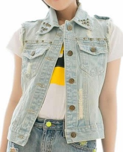Cruiize Women's Fashion Washed Frayed Lapel Rivet Denim Vest blue S