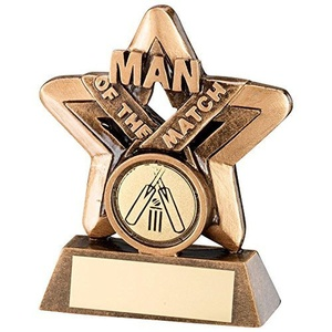 JR6-RF418 Brz/Gold Man Of The Match Mini Star Trophy - (1in Centre) 3.75in Includes Free Engraving (Up to 30 Characters) by Lapal Dimension