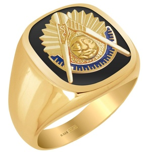 Customizable Solid Back Men's 0.925 Sterling Silver or Gold Vermeil Masonic Past Master Ring