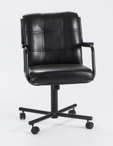 Casual Rolling Caster Dining Chair with Wood Arms and Black Vinyl Seat and Back (1 Chair)