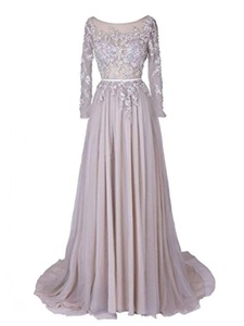Winnie Bride Women's Lace Appliqued Mother of the Bride Dress with Long Sleeves-4-Silver