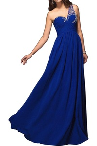 Angel Bride Chic One Shoulder Beads Chiffon Prom Gown Evening Party Dresses-6-Royal Blue