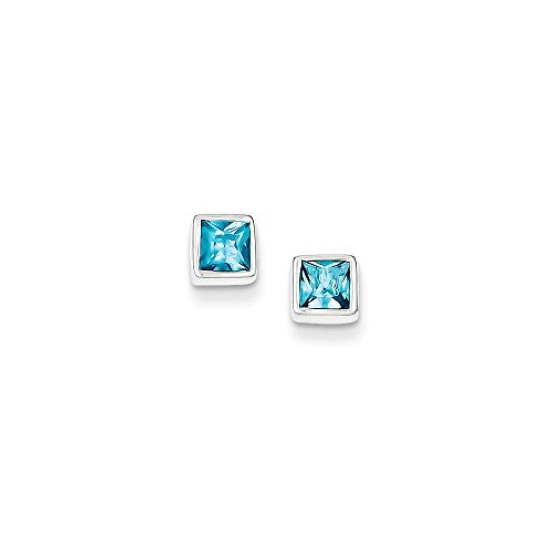 .925 Sterling Silver 5 MM Squared Light Blue CZ Post Stud Earrings