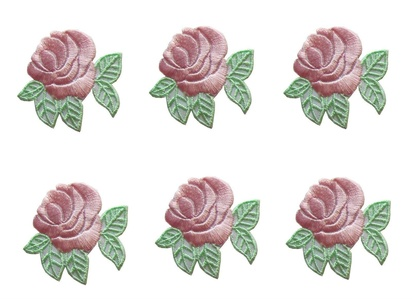 Lot of 6Pcs Applique Patches Logo Patterns Cute Small Rose Flower Embroidery Iron On Applique Patch Sewing Lace Embroidered Craft Supply Fabric Decorative, Size 2