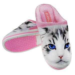 Couple Home Slippers, Womens Girls Cartoon Cat Soft Cozy Cotton Plush Warm Slip-on Indoor Slippers Winter Thermal Fleece Scuff Mules Waterproof Non-slip Rubber Sole Shoes Clog Footwear Boots