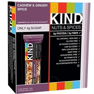 KIND Bars, Nuts & Spices, Cashew & Ginger Spice, 12 Bars 1.4 oz (40 g) Each - 2pcs