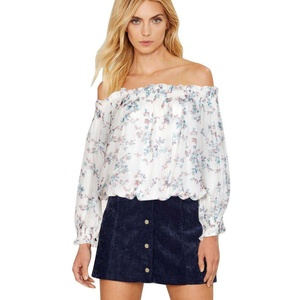 Usstore Women's Blouse Long Sleeve Shirt Off Shoulder Printing Casual Top (M, A)