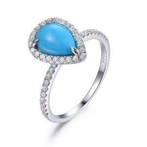1.14ct Turquoise Engagement Ring,Pear Cut Natural Gemstone Wedding Ring,14K White Gold Diamond Band