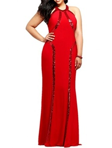 Winnie Bride Stunning Red Sequined Formal Dress for Women Evening Plus Size Long-14-Red