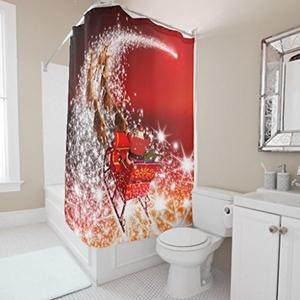 Unique Custom Merry Christmas (5) Waterproof fabric Polyester Shower Curtain bathroom Decor 36x72inch