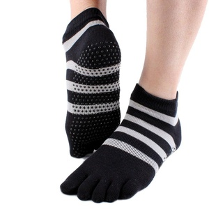 Stripe Professional Non Slip Skid with Grips Cotton Yoga Socks with Five Toes for Women (black)