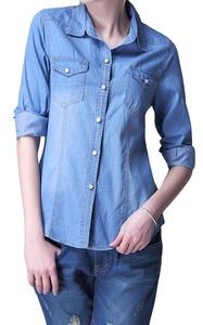 Women Basic Pocket Long Sleeve Distressed Button Down Jean Denim Shirt Light Blue L