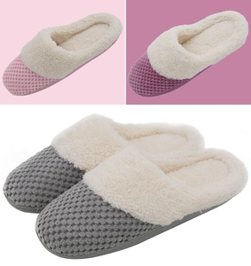 UltraIdeas Women's Soft Gridding Coral Velvet Short Plush Lining Slip-on Memory Foam Clog Indoor Slippers