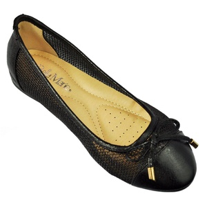 Womens Chain Mesh Ballerina Cap Toe With Bow Tie Ballet Flat Deon 08 By Anna's Footware Color Black Size 8.5