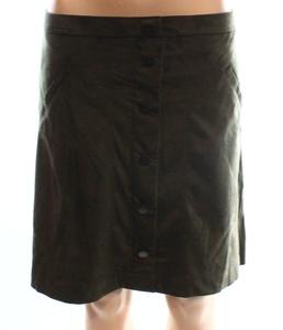 Jolt Olive Junior Mini Faux-Suede Button Down Skirt Green 13